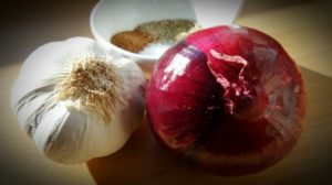 garlic and onions to make solar dill pickles
