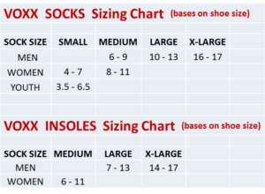 size chart for voxx insoles and socks