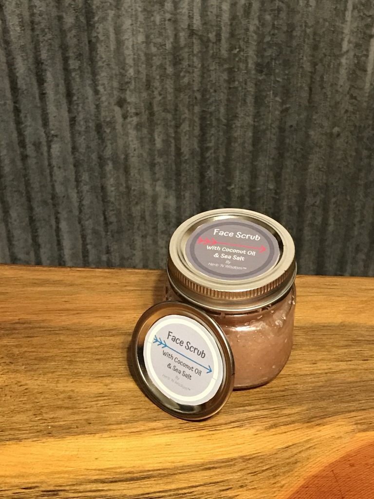 Coconut Oil & Sea Salt Face Scrub #coconutoil #seasalt #heatherearles #herbnwisdom #naturalliving #skin #naturalbodyscrubs