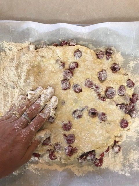 "press the cherry scone dough into a 1"" disc"