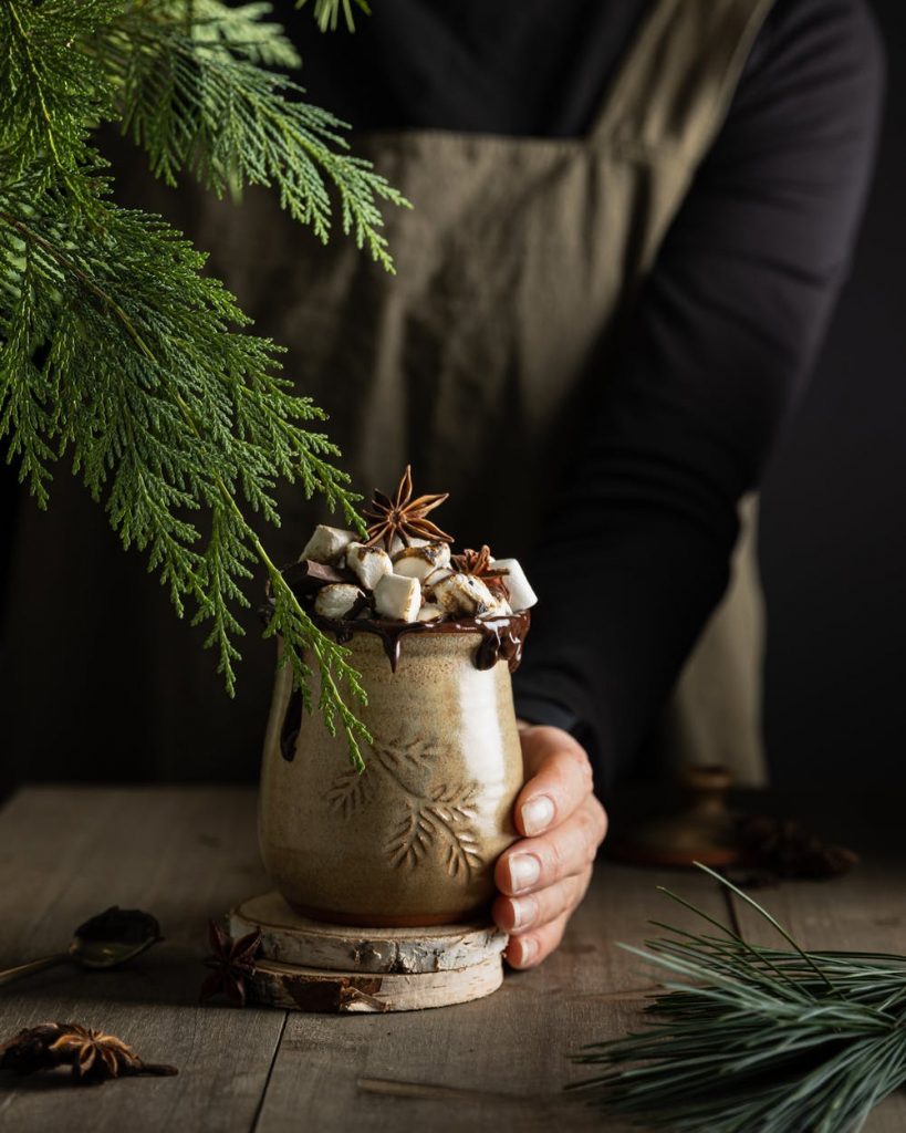 Hot chocolate using cacao powder