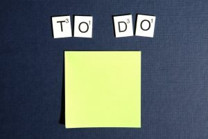 Making a checklist of things to get done before sending in your manuscript in